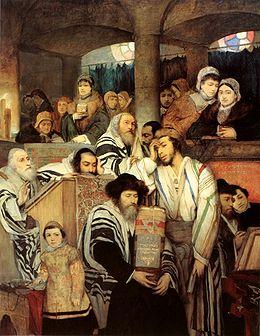 Tekening van Joden in een Synagoge