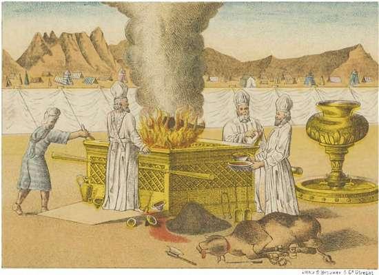 Brandofferaltaar Tent der Vastgestelde Tijden. Bron afbeelding: christipedia.nl