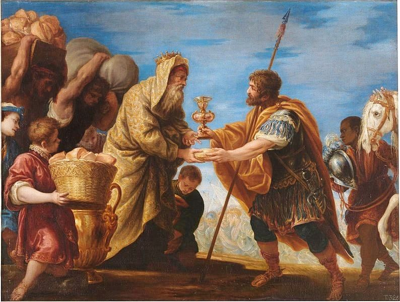 Abraham with king Melchizedek, drawing